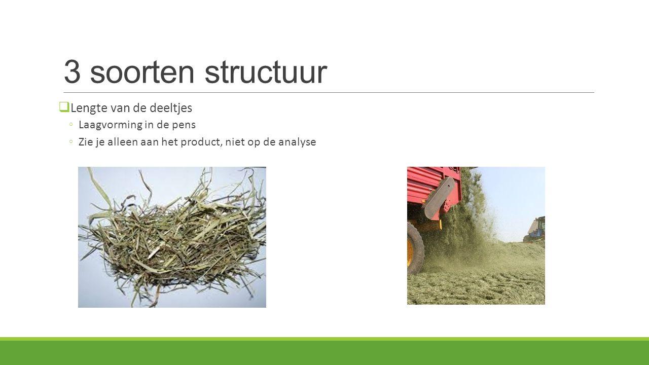 3 soorten structuur  Lengte van de deeltjes ◦Laagvorming in de pens ◦Zie je alleen aan het product, niet op de analyse