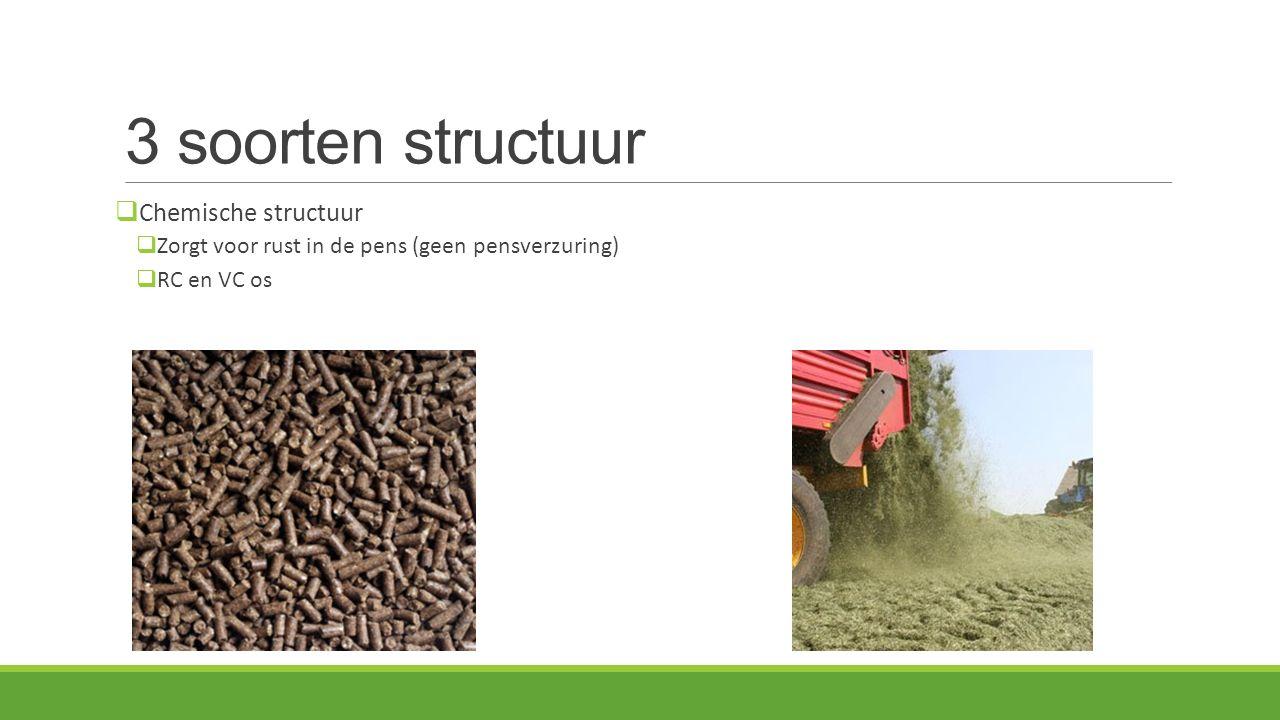 3 soorten structuur  Chemische structuur  Zorgt voor rust in de pens (geen pensverzuring)  RC en VC os