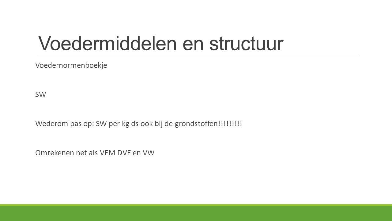 Voedermiddelen en structuur Voedernormenboekje SW Wederom pas op: SW per kg ds ook bij de grondstoffen!!!!!!!!.