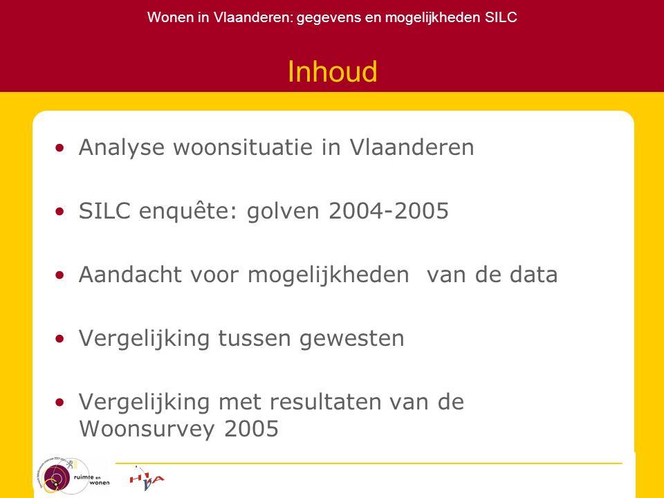 Wonen in Vlaanderen: gegevens en mogelijkheden SILC Inhoud Analyse woonsituatie in Vlaanderen SILC enquête: golven 2004-2005 Aandacht voor mogelijkhed