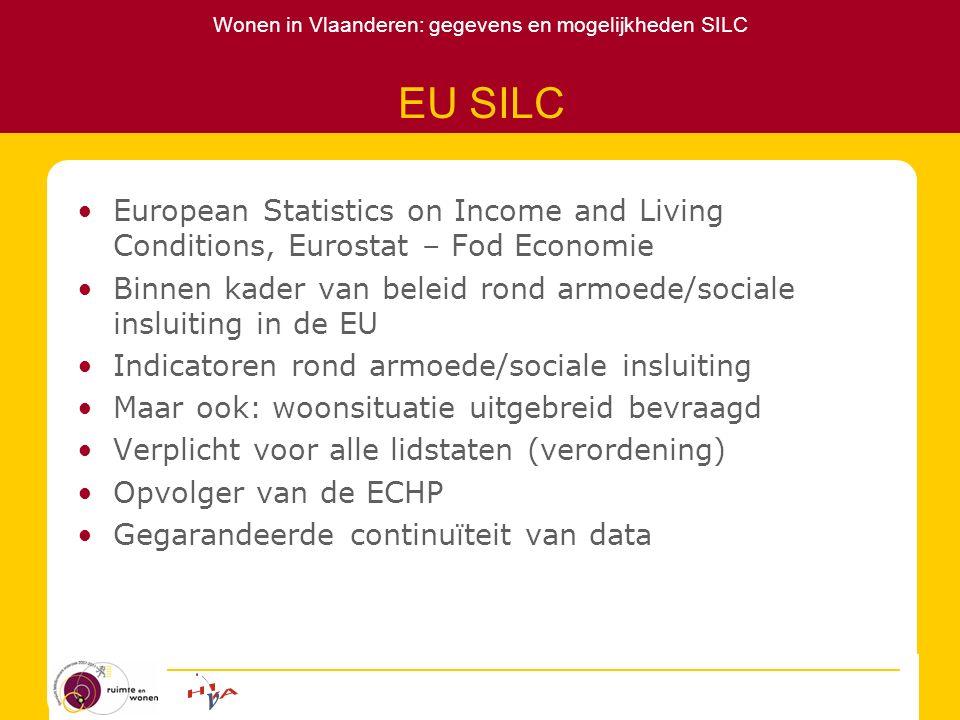 Wonen in Vlaanderen: gegevens en mogelijkheden SILC EU SILC European Statistics on Income and Living Conditions, Eurostat – Fod Economie Binnen kader