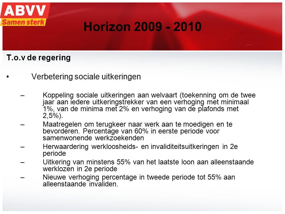18 Horizon 2009 - 2010 T.o.v de regering Verbetering sociale uitkeringen –Koppeling sociale uitkeringen aan welvaart (toekenning om de twee jaar aan iedere uitkeringstrekker van een verhoging met minimaal 1%, van de minima met 2% en verhoging van de plafonds met 2,5%).