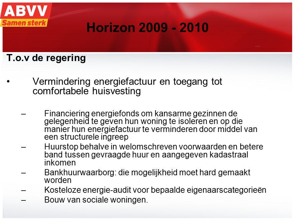 19 Horizon 2009 - 2010 T.o.v de regering Vermindering energiefactuur en toegang tot comfortabele huisvesting –Financiering energiefonds om kansarme ge