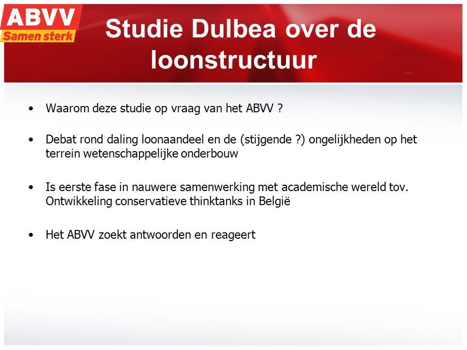 2 Studie Dulbea over de loonstructuur Waarom deze studie op vraag van het ABVV ? Debat rond daling loonaandeel en de (stijgende ?) ongelijkheden op he