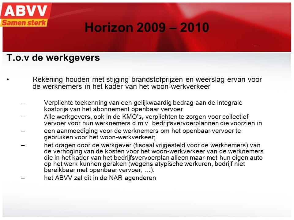 21 Horizon 2009 – 2010 T.o.v de werkgevers Rekening houden met stijging brandstofprijzen en weerslag ervan voor de werknemers in het kader van het woon-werkverkeer –Verplichte toekenning van een gelijkwaardig bedrag aan de integrale kostprijs van het abonnement openbaar vervoer –Alle werkgevers, ook in de KMO's, verplichten te zorgen voor collectief vervoer voor hun werknemers d.m.v.