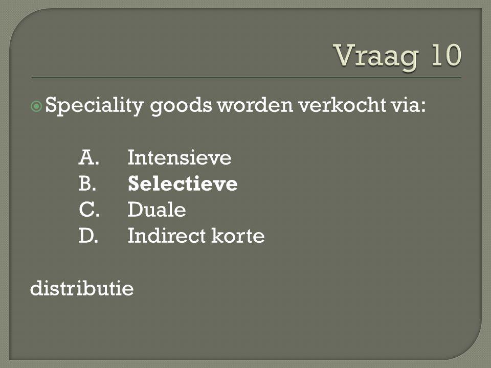  Speciality goods worden verkocht via: A. Intensieve B.Selectieve C.