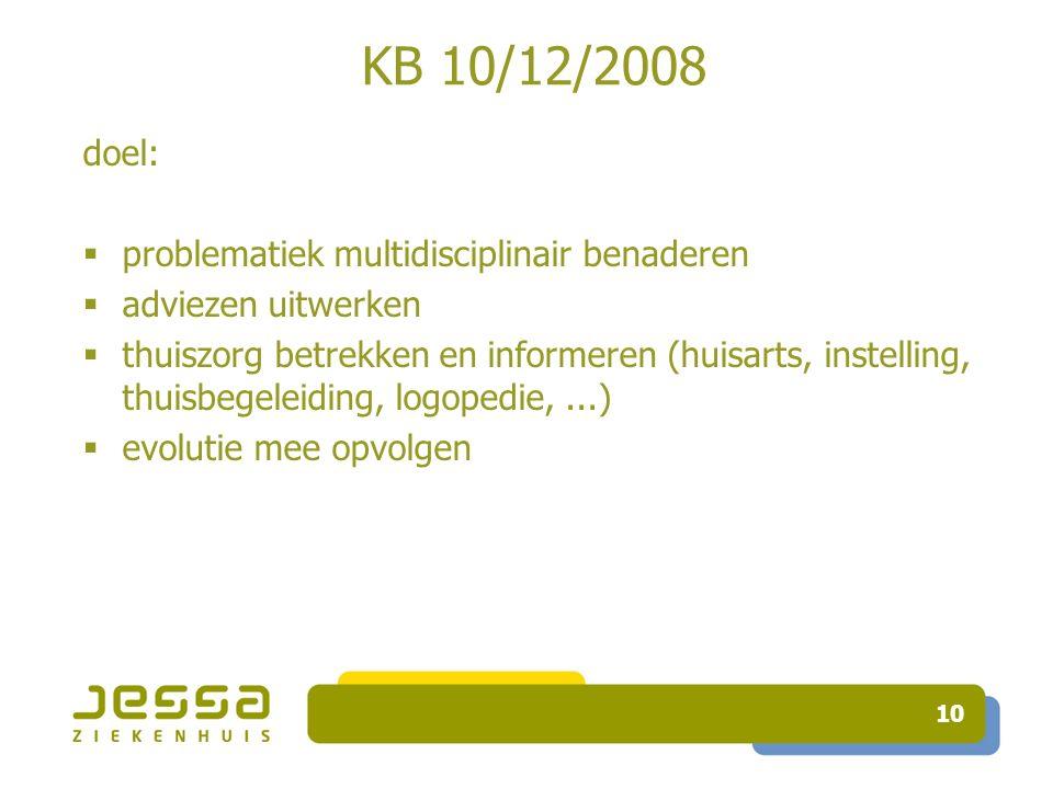 10 KB 10/12/2008 doel:  problematiek multidisciplinair benaderen  adviezen uitwerken  thuiszorg betrekken en informeren (huisarts, instelling, thuisbegeleiding, logopedie,...)  evolutie mee opvolgen