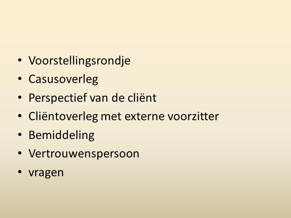 23 Procedure 3) Overleg -Deelnemers: -Constructief gesprek -Resultaatgericht -Cliëntgericht -Een hulpcoördinator wordt aangeduid