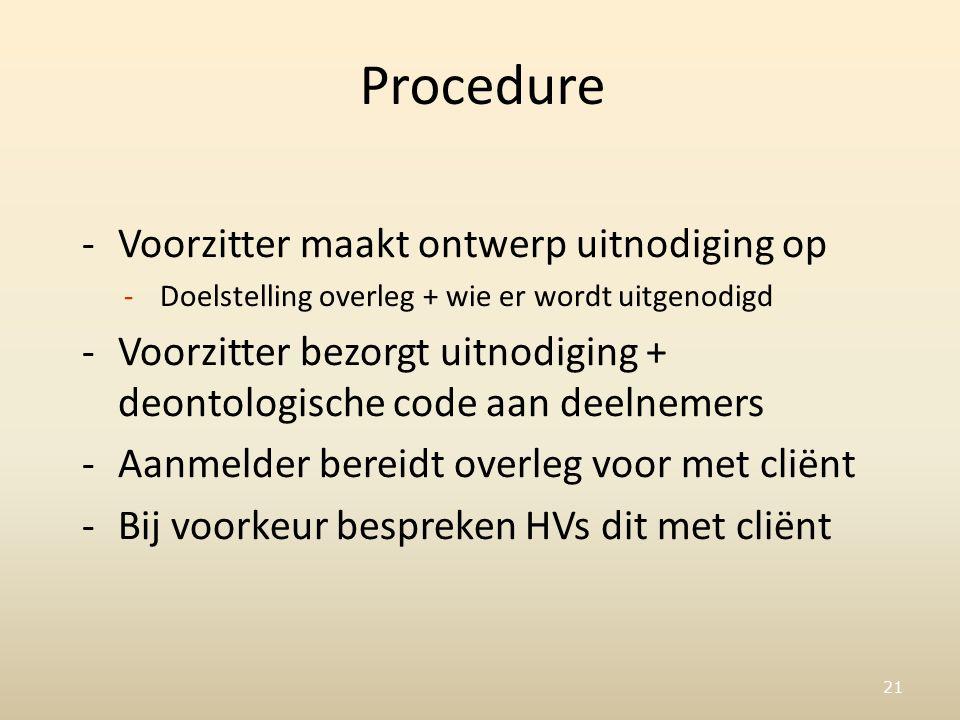 21 Procedure -Voorzitter maakt ontwerp uitnodiging op -Doelstelling overleg + wie er wordt uitgenodigd -Voorzitter bezorgt uitnodiging + deontologische code aan deelnemers -Aanmelder bereidt overleg voor met cliënt -Bij voorkeur bespreken HVs dit met cliënt