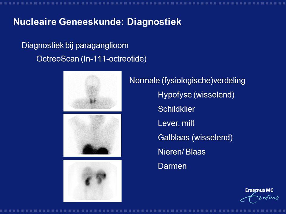 Nucleaire Geneeskunde: Diagnostiek  Rol OctreoScan bij paragangliomen  'Whole body' onderzoek (Hoofd tot liezen)  Sensitiviteit 94%  Negatief als klein of lage receptor-dichtheid  In 9 van de 25 patiënten (36%) werden onverwachte additionele lesies gevonden  Multi-centriciteit  Hoofd / hals gebied  Gehele grensstreng / visceraal  Metastasen (Maligne paraganglioom) Kwekkeboom et al.