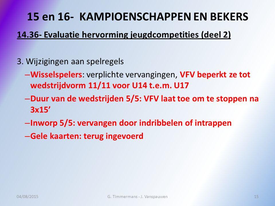 15 en 16- KAMPIOENSCHAPPEN EN BEKERS 14.36- Evaluatie hervorming jeugdcompetities (deel 2) 3.