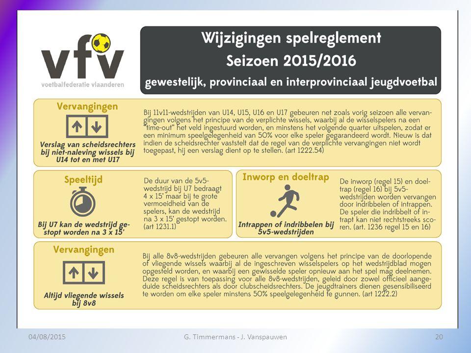 04/08/2015G. Timmermans - J. Vanspauwen20