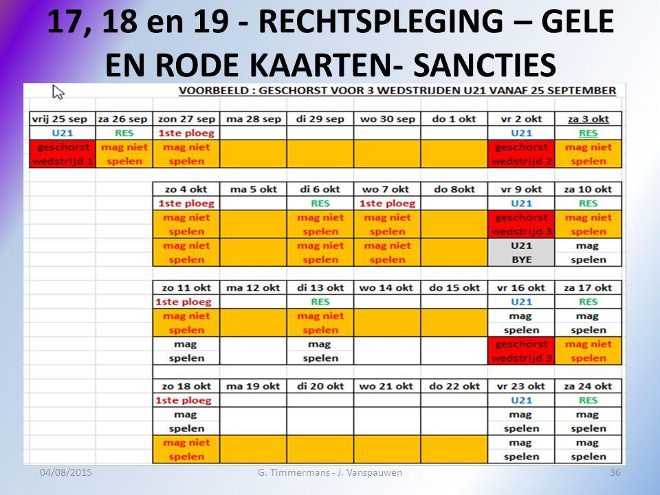 17, 18 en 19 - RECHTSPLEGING – GELE EN RODE KAARTEN- SANCTIES 04/08/2015G.