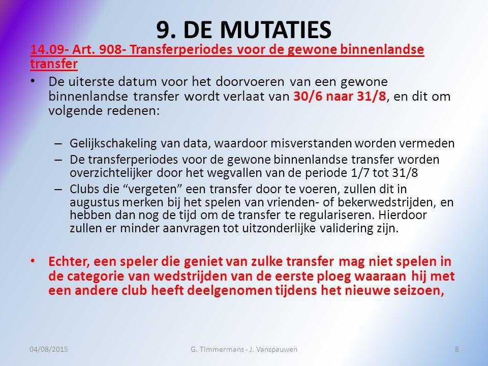 9. DE MUTATIES 14.09- Art.