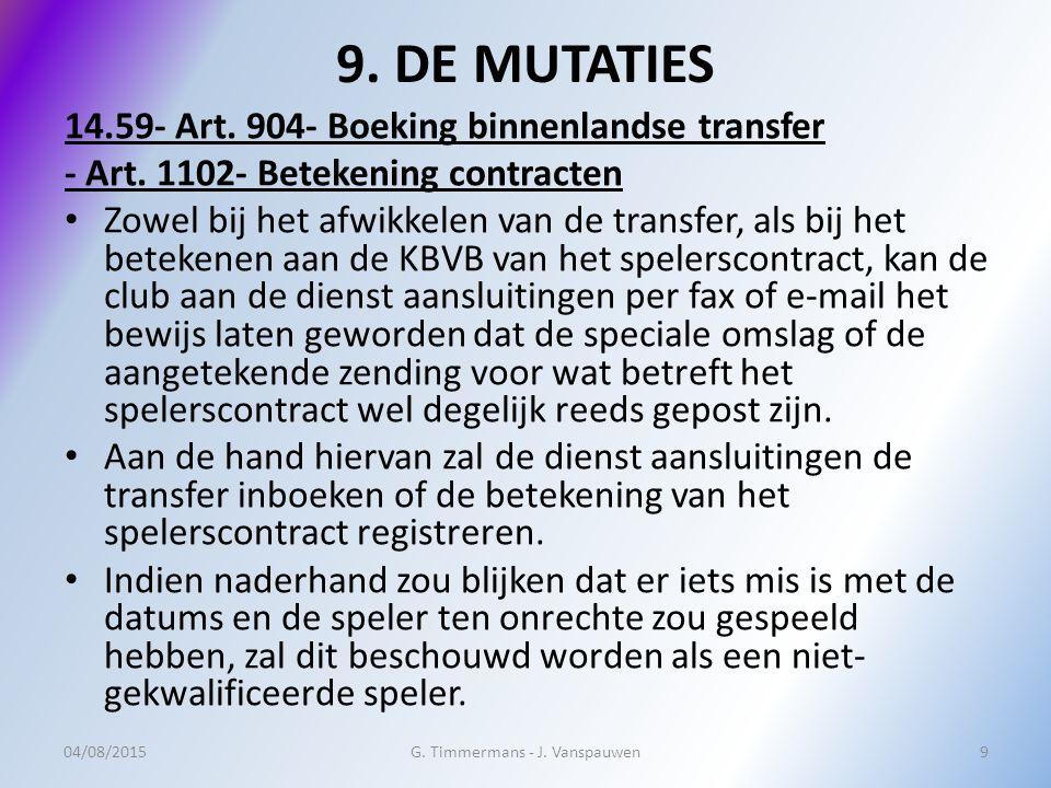 9. DE MUTATIES 14.59- Art. 904- Boeking binnenlandse transfer - Art.
