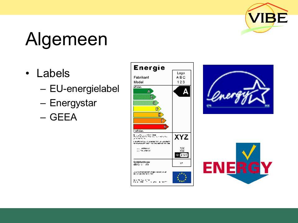 Algemeen Labels –EU-energielabel –Energystar –GEEA