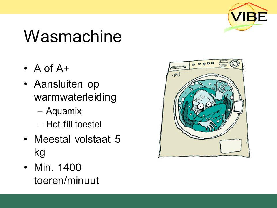 Wasmachine A of A+ Aansluiten op warmwaterleiding –Aquamix –Hot-fill toestel Meestal volstaat 5 kg Min.