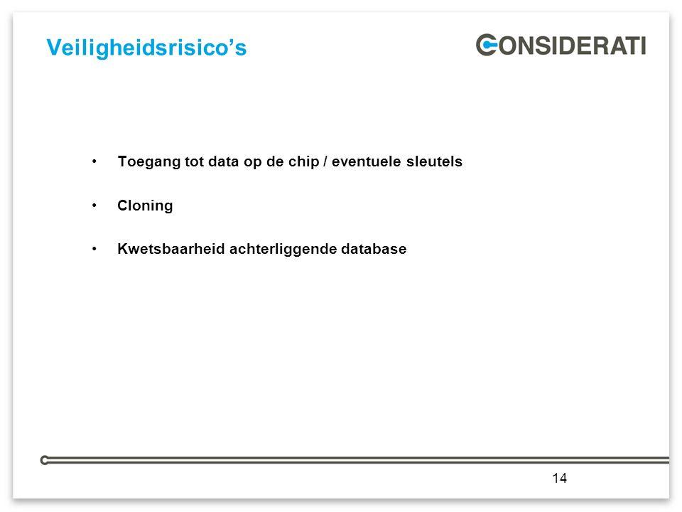 14 Veiligheidsrisico's Toegang tot data op de chip / eventuele sleutels Cloning Kwetsbaarheid achterliggende database 14