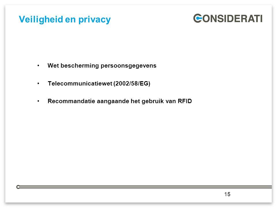 15 Veiligheid en privacy Wet bescherming persoonsgegevens Telecommunicatiewet (2002/58/EG) Recommandatie aangaande het gebruik van RFID 15