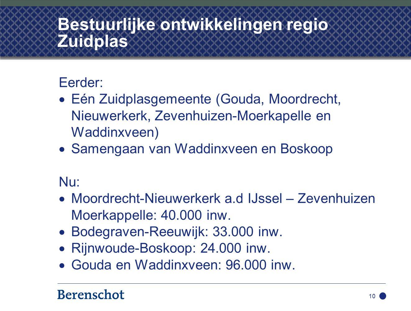 10 Bestuurlijke ontwikkelingen regio Zuidplas Eerder:  Eén Zuidplasgemeente (Gouda, Moordrecht, Nieuwerkerk, Zevenhuizen-Moerkapelle en Waddinxveen)  Samengaan van Waddinxveen en Boskoop Nu:  Moordrecht-Nieuwerkerk a.d IJssel – Zevenhuizen Moerkappelle: 40.000 inw.