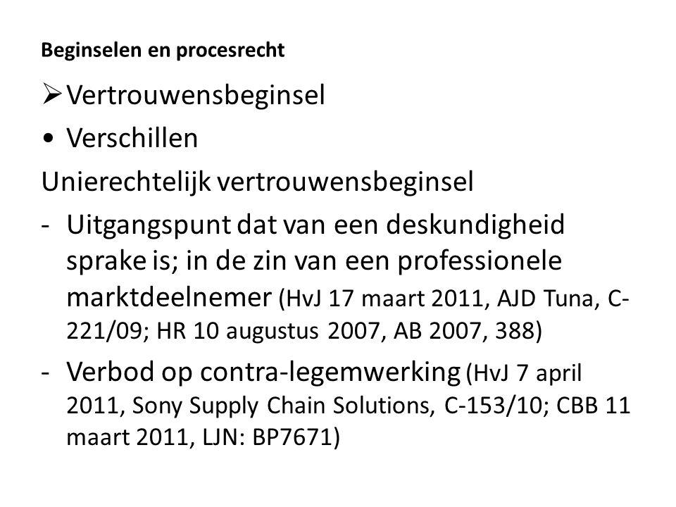 Beginselen en procesrecht  Vertrouwensbeginsel Verschillen Unierechtelijk vertrouwensbeginsel -Uitgangspunt dat van een deskundigheid sprake is; in de zin van een professionele marktdeelnemer (HvJ 17 maart 2011, AJD Tuna, C- 221/09; HR 10 augustus 2007, AB 2007, 388) -Verbod op contra-legemwerking (HvJ 7 april 2011, Sony Supply Chain Solutions, C-153/10; CBB 11 maart 2011, LJN: BP7671)