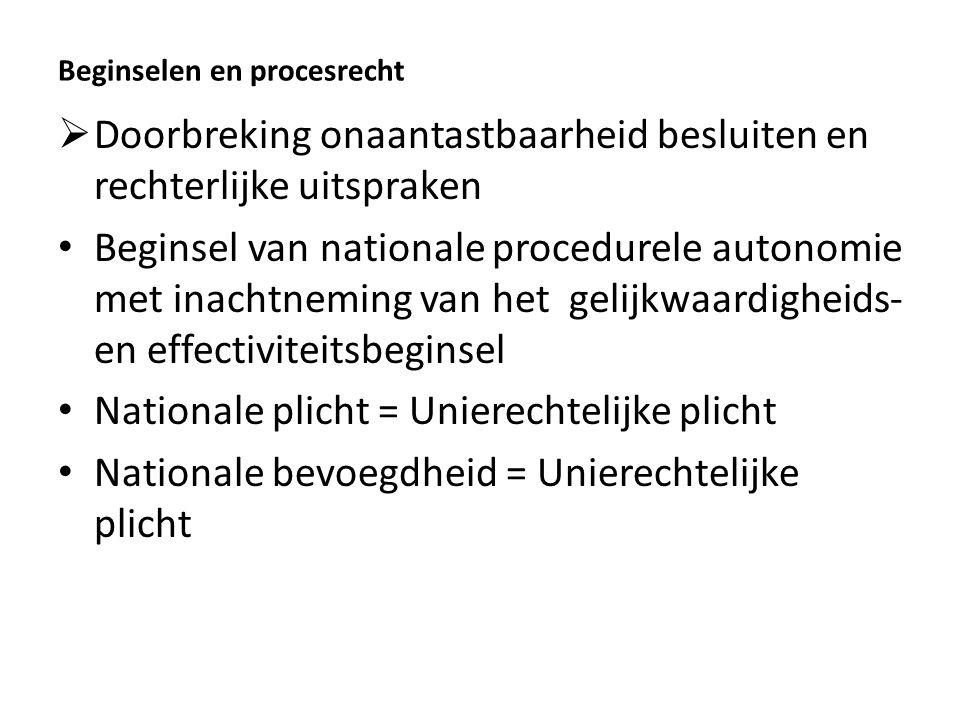 Beginselen en procesrecht  Doorbreking onaantastbaarheid besluiten en rechterlijke uitspraken Beginsel van nationale procedurele autonomie met inacht