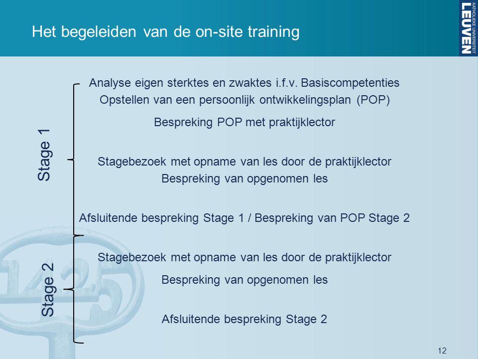 12 Het begeleiden van de on-site training Analyse eigen sterktes en zwaktes i.f.v. Basiscompetenties Opstellen van een persoonlijk ontwikkelingsplan (