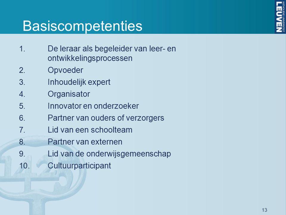 13 Basiscompetenties 1. De leraar als begeleider van leer- en ontwikkelingsprocessen 2. Opvoeder 3. Inhoudelijk expert 4. Organisator 5. Innovator en