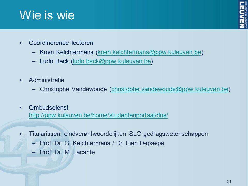 21 Wie is wie Coördinerende lectoren –Koen Kelchtermans (koen.kelchtermans@ppw.kuleuven.be)koen.kelchtermans@ppw.kuleuven.be –Ludo Beck (ludo.beck@ppw.kuleuven.be)ludo.beck@ppw.kuleuven.be Administratie –Christophe Vandewoude (christophe.vandewoude@ppw.kuleuven.be)christophe.vandewoude@ppw.kuleuven.be Ombudsdienst http://ppw.kuleuven.be/home/studentenportaal/dos/ http://ppw.kuleuven.be/home/studentenportaal/dos/ Titularissen, eindverantwoordelijken SLO gedragswetenschappen –Prof.
