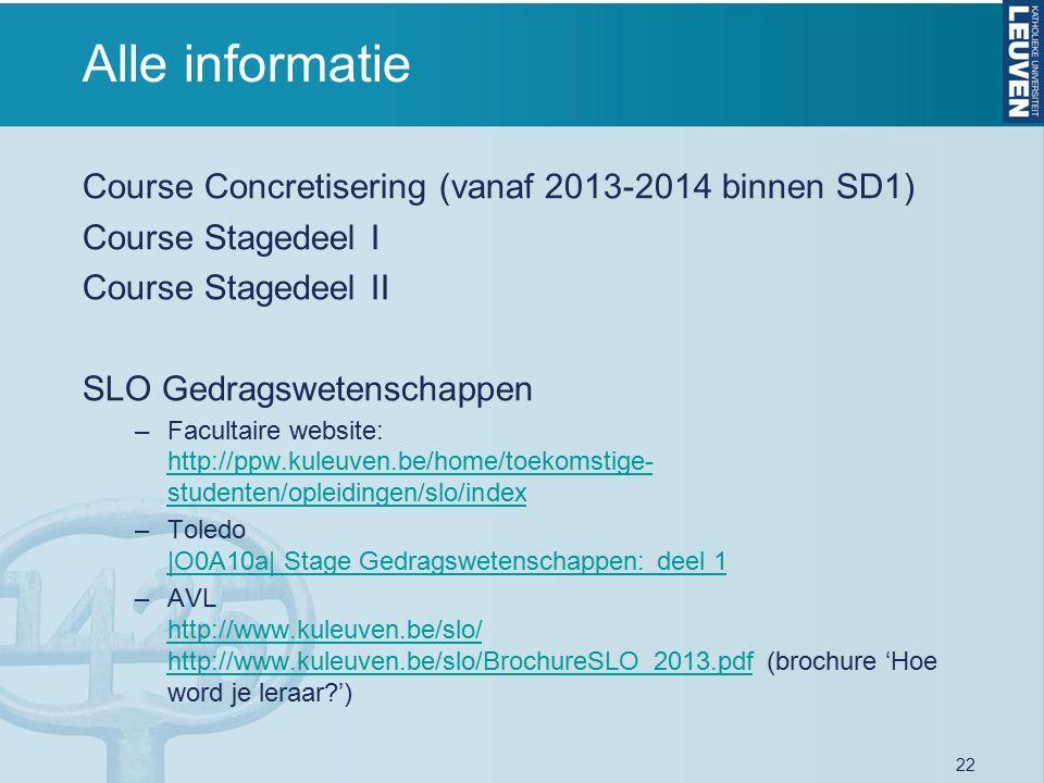 22 Alle informatie Course Concretisering (vanaf 2013-2014 binnen SD1) Course Stagedeel I Course Stagedeel II SLO Gedragswetenschappen –Facultaire website: http://ppw.kuleuven.be/home/toekomstige- studenten/opleidingen/slo/index http://ppw.kuleuven.be/home/toekomstige- studenten/opleidingen/slo/index –Toledo |O0A10a| Stage Gedragswetenschappen: deel 1 |O0A10a| Stage Gedragswetenschappen: deel 1 –AVL http://www.kuleuven.be/slo/ http://www.kuleuven.be/slo/BrochureSLO_2013.pdf (brochure 'Hoe word je leraar?') http://www.kuleuven.be/slo/ http://www.kuleuven.be/slo/BrochureSLO_2013.pdf