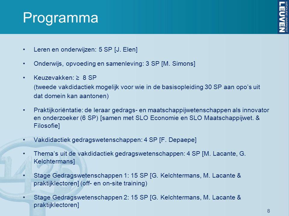 8 Programma Leren en onderwijzen: 5 SP [J. Elen] Onderwijs, opvoeding en samenleving: 3 SP [M. Simons] Keuzevakken: ≥ 8 SP (tweede vakdidactiek mogeli