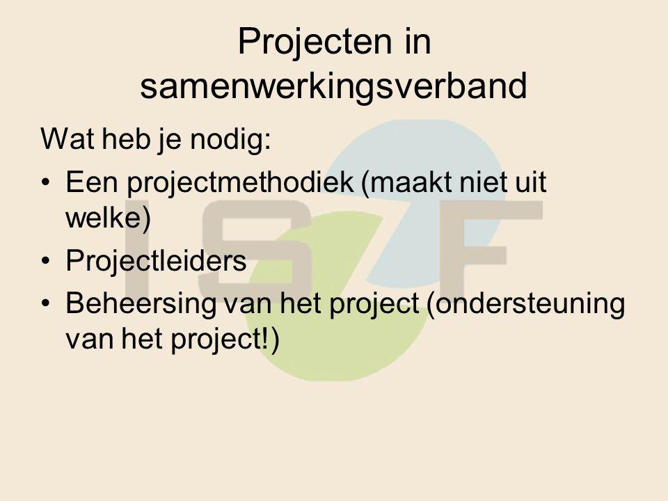 Projecten in samenwerkingsverband Wat heb je nodig: Een projectmethodiek (maakt niet uit welke) Projectleiders Beheersing van het project (ondersteuning van het project!)