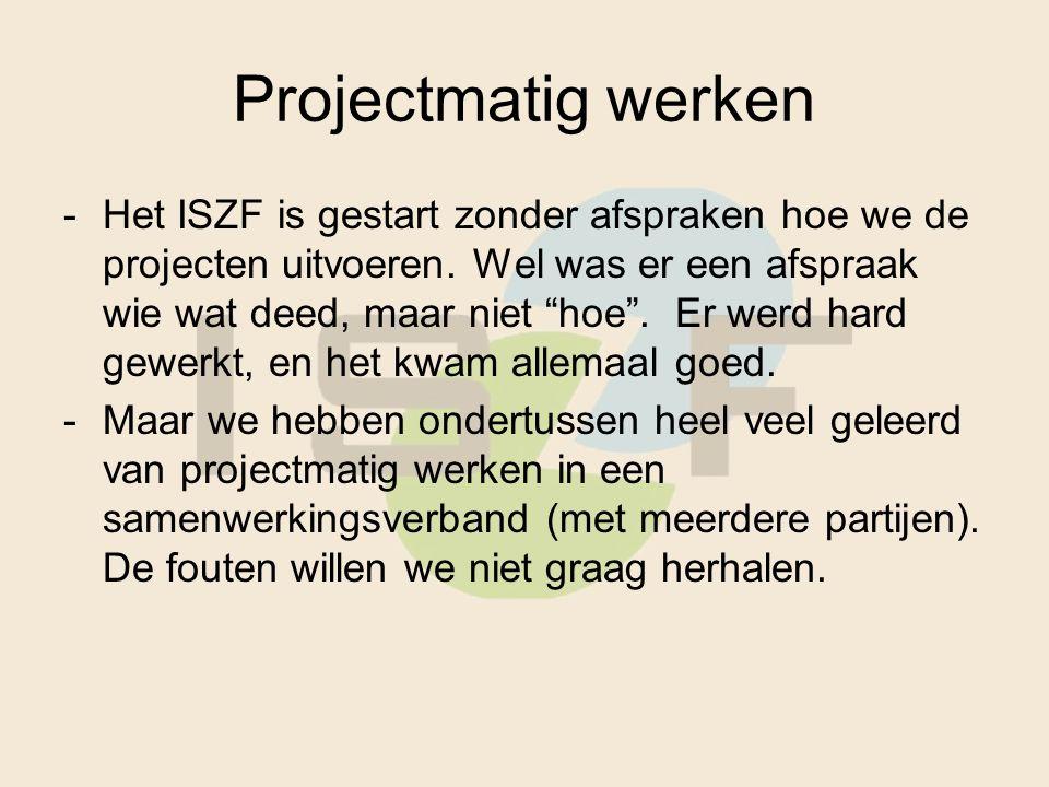 Projectmatig werken -Het ISZF is gestart zonder afspraken hoe we de projecten uitvoeren.