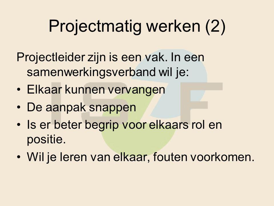 Projectmatig werken (2) Projectleider zijn is een vak.