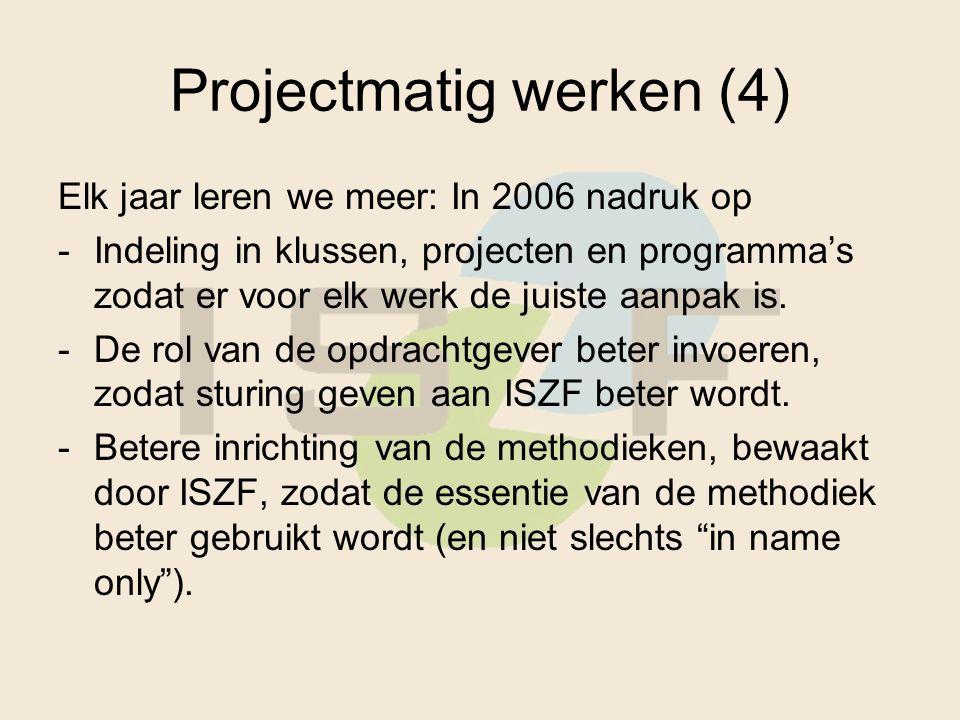 Projectmatig werken (4) Elk jaar leren we meer: In 2006 nadruk op -Indeling in klussen, projecten en programma's zodat er voor elk werk de juiste aanpak is.