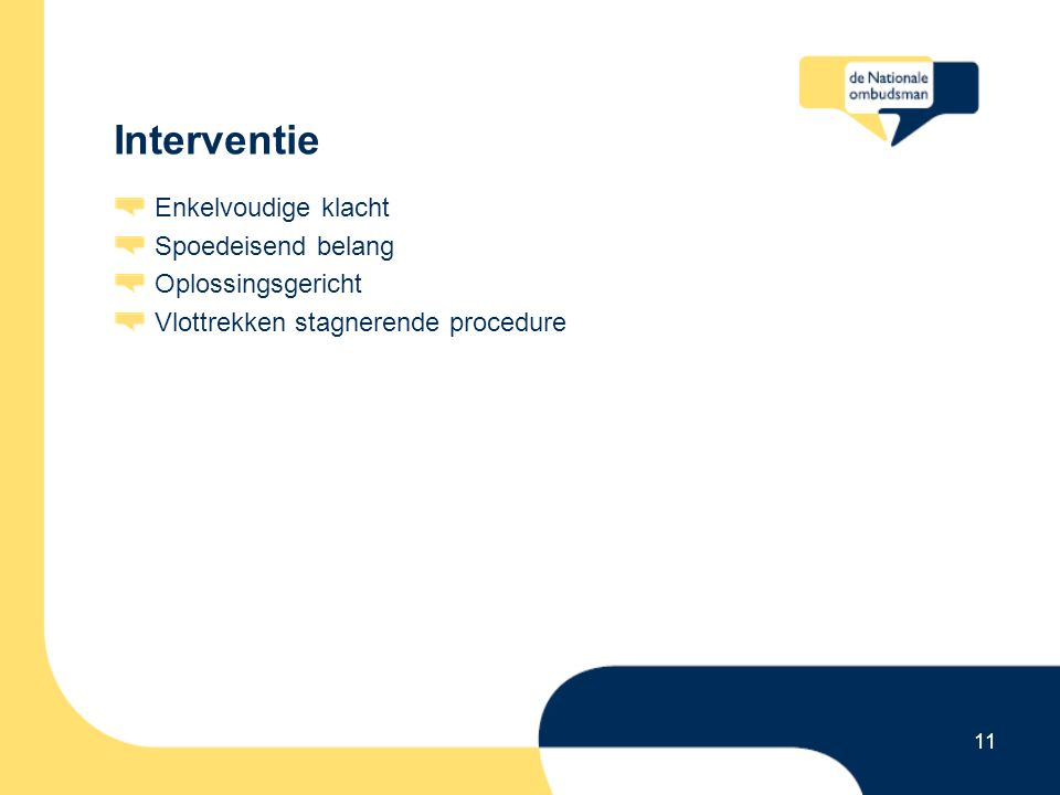 11 Interventie Enkelvoudige klacht Spoedeisend belang Oplossingsgericht Vlottrekken stagnerende procedure