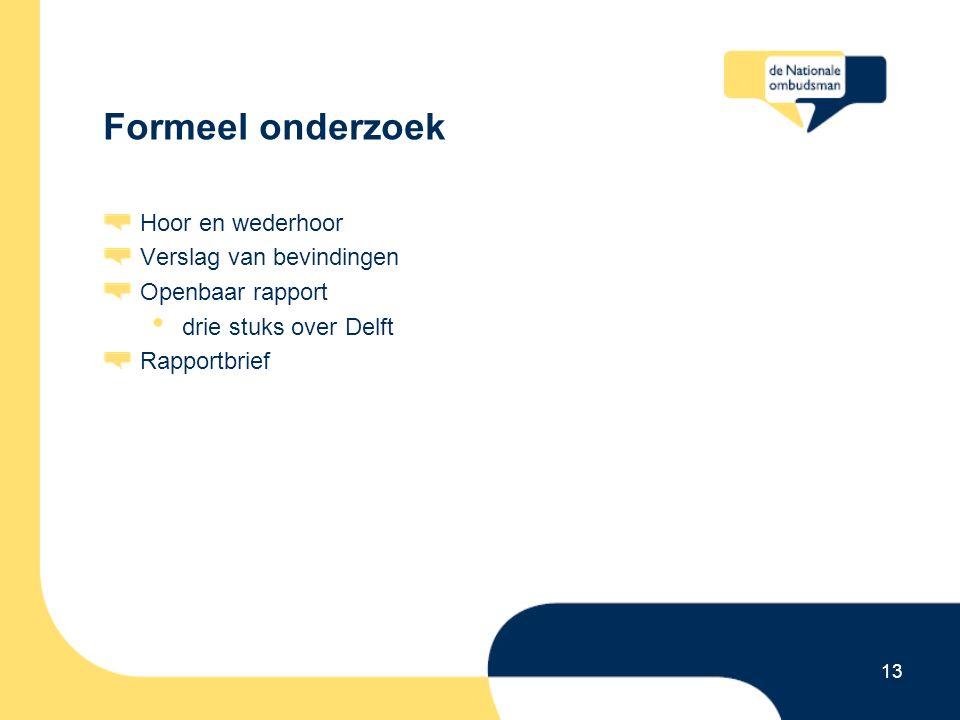 13 Formeel onderzoek Hoor en wederhoor Verslag van bevindingen Openbaar rapport drie stuks over Delft Rapportbrief