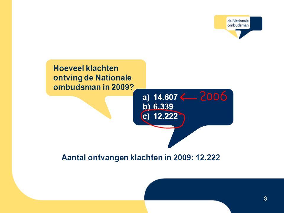 3 Hoeveel klachten ontving de Nationale ombudsman in 2009.