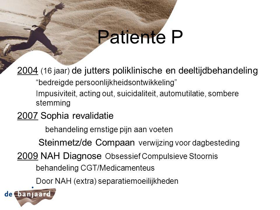 """Patiente P 2004 (16 jaar) de jutters poliklinische en deeltijdbehandeling """"bedreigde persoonlijkheidsontwikkeling"""" Impusiviteit, acting out, suicidali"""