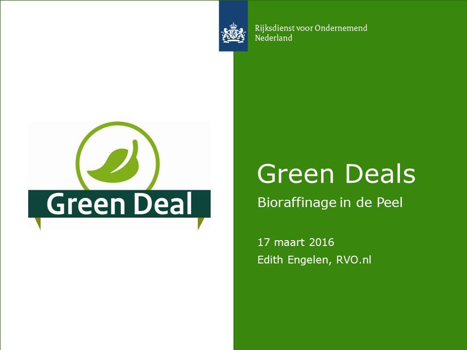 De Green Deal Aanpak Samenwerking tussen overheid en marktpartijen Focus is duurzame, groene groei Sinds 2011 Teller staat op 193 deals Domeinen: Water, Klimaat, Grondstoffen, Biobased economy, Biodiversiteit, Mobiliteit, Energie, Voedsel, Bouw Nu ook: Health deals, City deals, Start-up deals,…