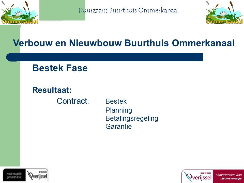 Bestek Fase Resultaat: Contract :Bestek Planning Betalingsregeling Garantie Verbouw en Nieuwbouw Buurthuis Ommerkanaal Duurzaam Buurthuis Ommerkanaal