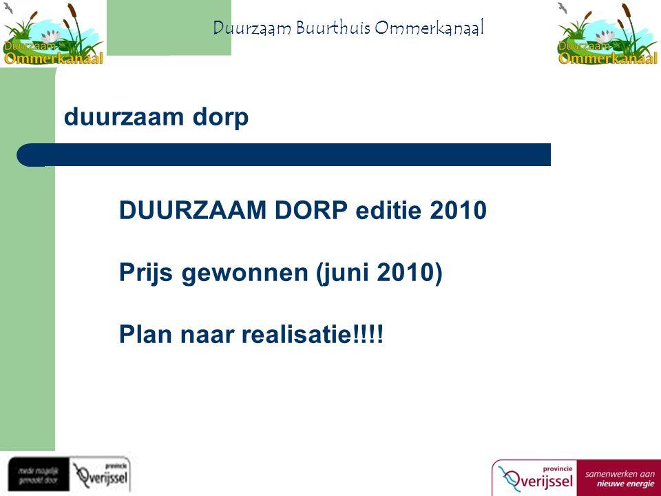 DUURZAAM DORP editie 2010 Prijs gewonnen (juni 2010) Plan naar realisatie!!!.