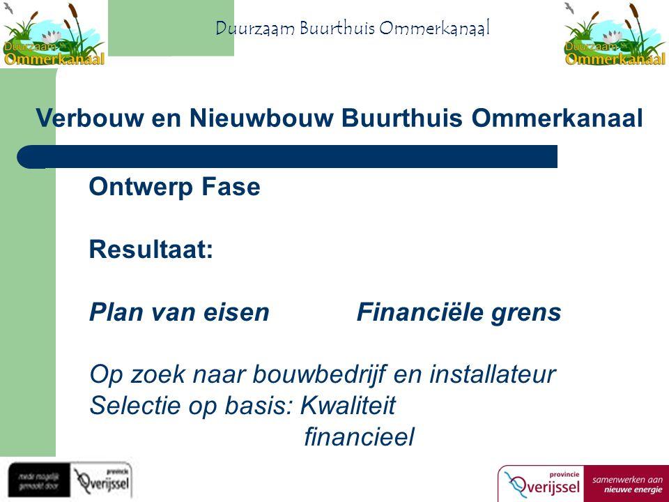 Ontwerp Fase Resultaat: Plan van eisenFinanciële grens Op zoek naar bouwbedrijf en installateur Selectie op basis: Kwaliteit financieel Verbouw en Nieuwbouw Buurthuis Ommerkanaal Duurzaam Buurthuis Ommerkanaal