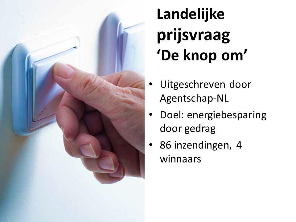 Landelijke prijsvraag 'De knop om' Uitgeschreven door Agentschap-NL Doel: energiebesparing door gedrag 86 inzendingen, 4 winnaars
