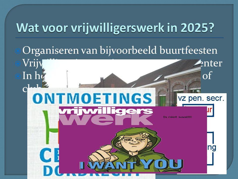  Organiseren van bijvoorbeeld buurtfeesten  Vrijwilliger in een nieuw ontmoetingscenter  In het bestuur van een buurtvereniging of club