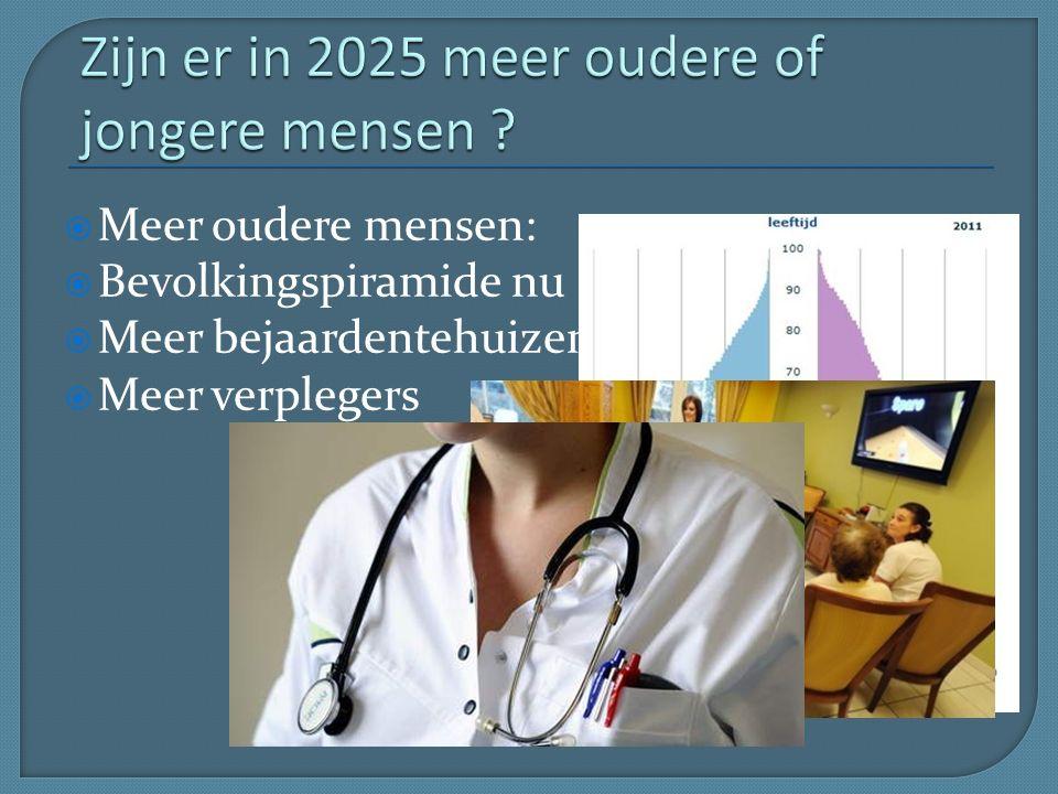  Meer oudere mensen:  Bevolkingspiramide nu  Meer bejaardentehuizen  Meer verplegers