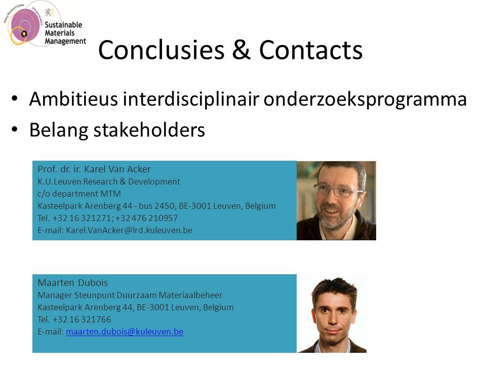 Conclusies & Contacts Ambitieus interdisciplinair onderzoeksprogramma Belang stakeholders Prof.