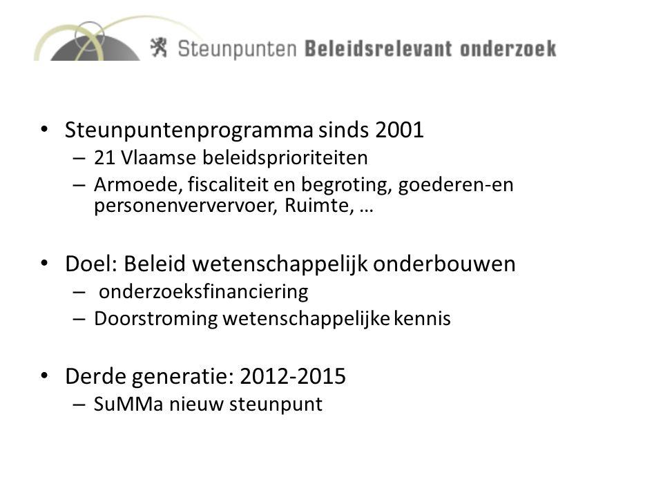 Steunpuntenprogramma sinds 2001 – 21 Vlaamse beleidsprioriteiten – Armoede, fiscaliteit en begroting, goederen-en personenververvoer, Ruimte, … Doel: Beleid wetenschappelijk onderbouwen – onderzoeksfinanciering – Doorstroming wetenschappelijke kennis Derde generatie: 2012-2015 – SuMMa nieuw steunpunt