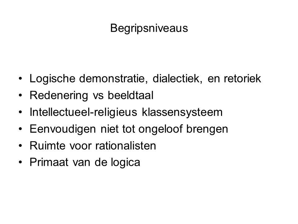 Begripsniveaus Logische demonstratie, dialectiek, en retoriek Redenering vs beeldtaal Intellectueel-religieus klassensysteem Eenvoudigen niet tot ongeloof brengen Ruimte voor rationalisten Primaat van de logica