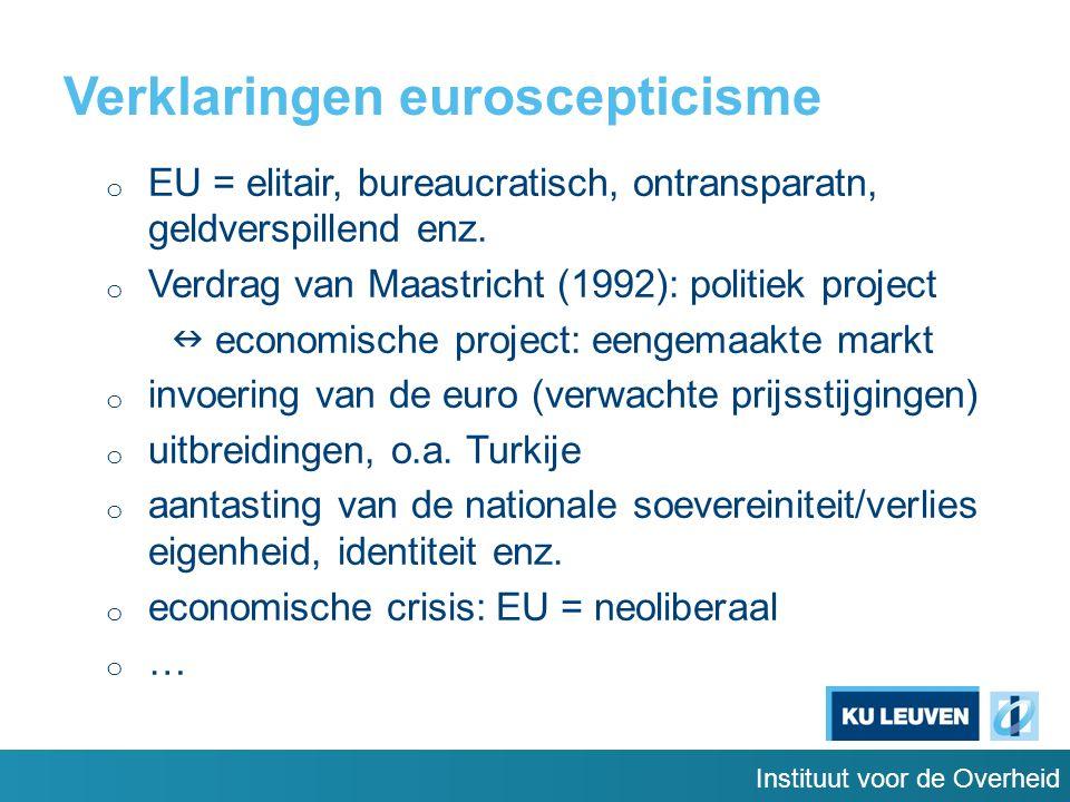 Verklaringen euroscepticisme o EU = elitair, bureaucratisch, ontransparatn, geldverspillend enz.